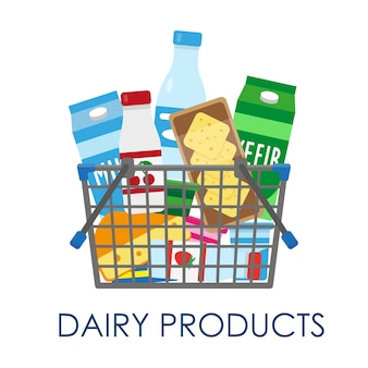 Shopping basket full of dairy products.