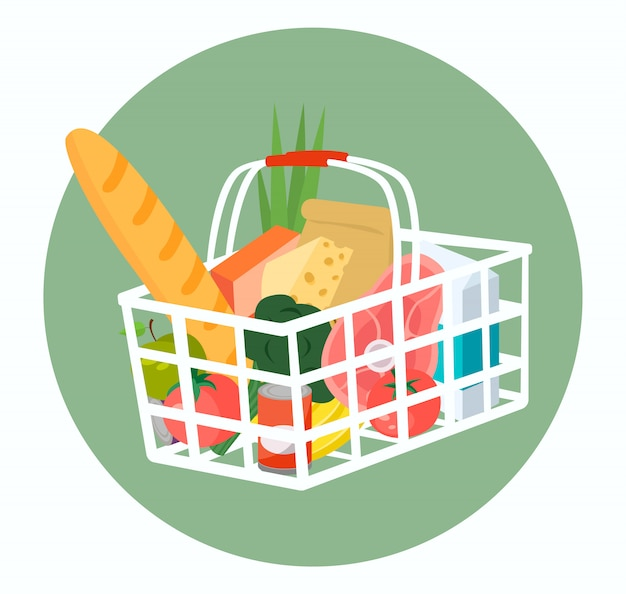 Shopping basket full of food and drinks. .