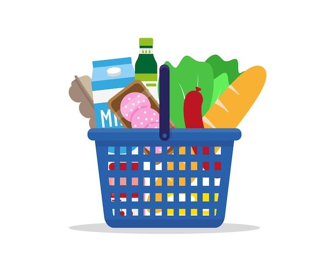Корзина для покупок, полная свежих продуктов.