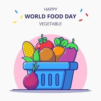 新鮮な野菜の漫画イラスト世界食料デーのお祝いでいっぱいの買い物かご。