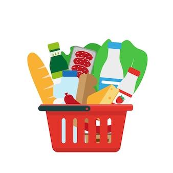 商品がいっぱい入った買い物かご。図。