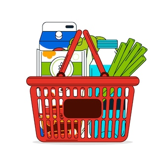 Shopping basket full of products