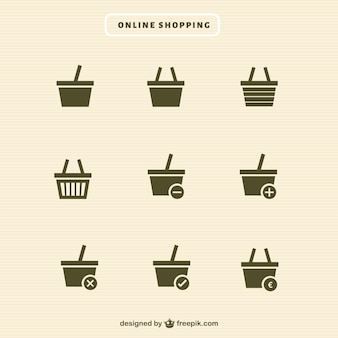 Shopping basket icons collection