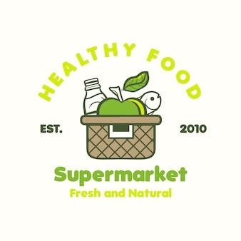 Shopping basket logo for supermarket