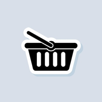 Shopping basket sticker. add to cart button icon. shopping basket logo. vector on isolated background. eps 10.