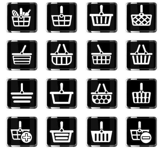 Веб-иконки корзины для покупок для дизайна пользовательского интерфейса