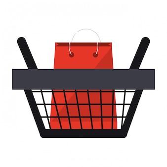 Shopping basket with bag inside symbol