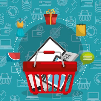 Shopping basket with marketing set icons