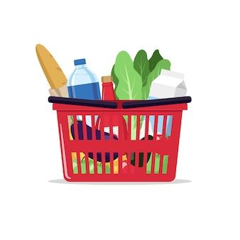 製品、食品、食料品、スーパーマーケットのイラストが入った買い物かご