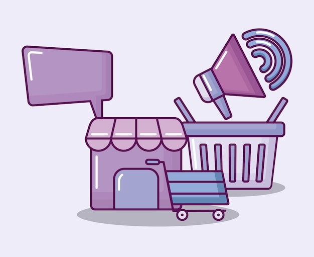 Shopping basket with set icons economy