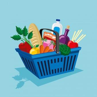 야채와 과일 용품 쇼핑 바구니
