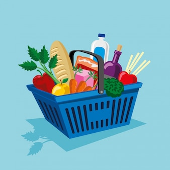 Shopping basket with vegetables and fruits supplies