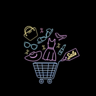 Shopping basket with women's clothing and accessories. neon advertising banner to black friday sale.