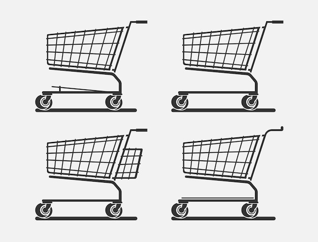 Shopping baskets in four different versions