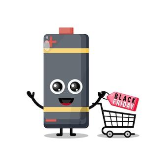 Shopping battery black friday cute character mascot