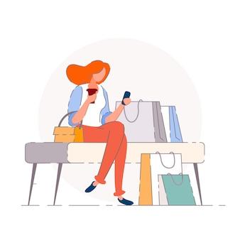 쇼핑 휴식. 구매자 여자 사람 만화 캐릭터 휴식, 휴식, 쇼핑백 함께 벤치에 앉아. 소매점 판매 및 소비 개념