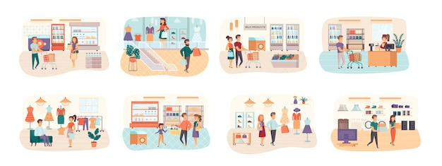 Shopping bundle of scenes with flat people characters situation