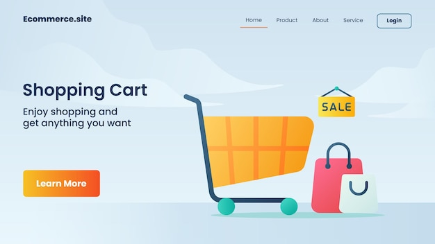 Shopping cart campaign for web website home homepage landing landing page banner template flyer w