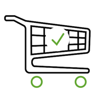 Shopping cart and check mark icon. the order is complete. place an order. trolley symbol for business and online marketing or shopping. complete shopping, paying. vector isolated on white background
