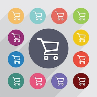Shopping cart, flat icons set. round colourful buttons. vector