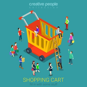 Shopping cart flat isometric