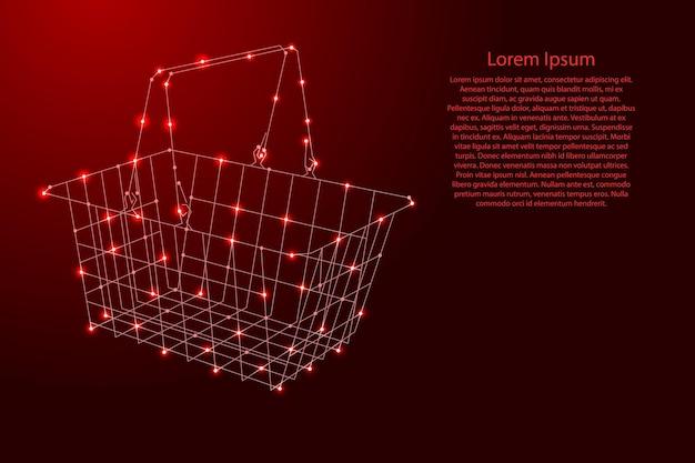 미래형 다각형 빨간색 선과 배너, 포스터, 인사말 카드를 위한 빛나는 별에서 식료품을 쇼핑할 수 있습니다. 벡터 일러스트 레이 션.
