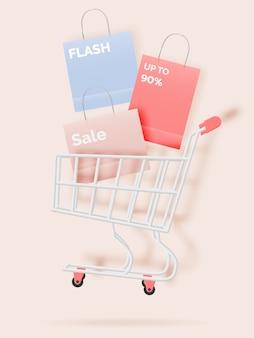 ペーパーアートスタイルとパステルスキームイラストの販売バナーのショッピングカート