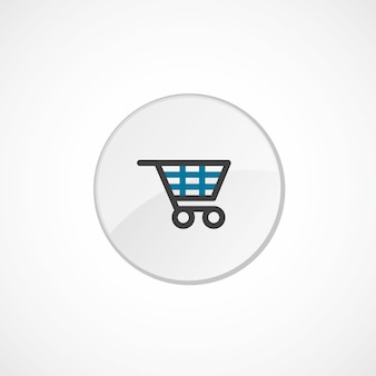 Shopping cart icon 2 colored, gray and blue, circle badge
