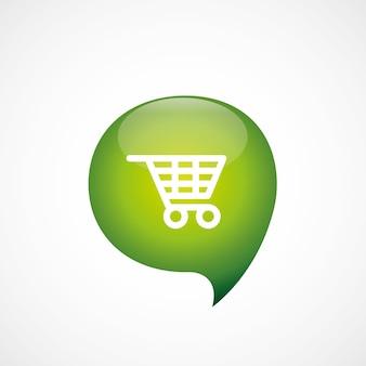 ショッピングカートアイコン緑の思考バブルシンボルロゴ、白い背景で隔離