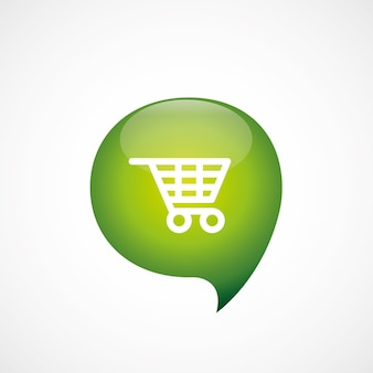 Shopping cart icon green think bubble symbol logo, isolated on white background