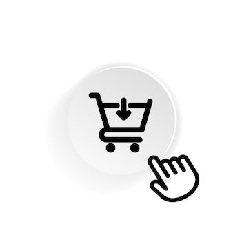 Значок корзины покупок в черном. покупка еды в супермаркете. вектор на изолированном белом фоне. eps 10.