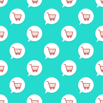 Shopping cart icon pattern on green background. vector illustration.