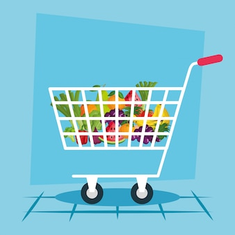 Shopping cart illustration, store shop market commerce retail buy and paying
