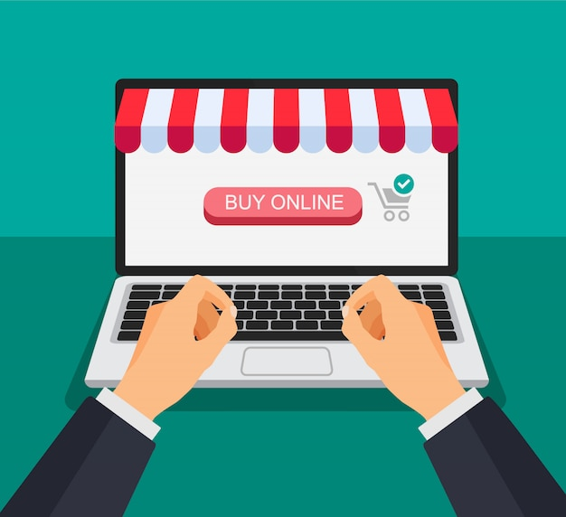 Shopping cart on a laptop screen. hand clicks and push a button. online shopping. illustration in a 3d style.