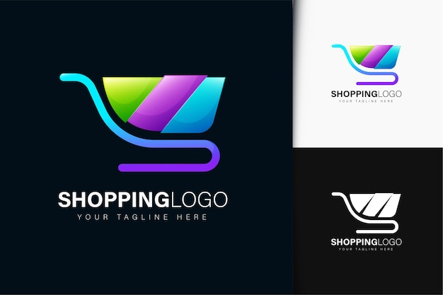 Shopping cart logo design with gradient