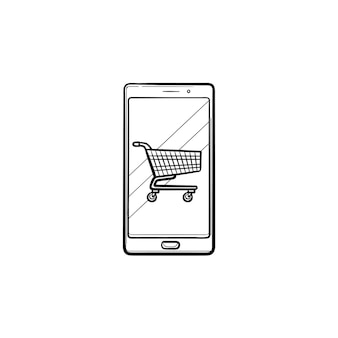 Shopping cart on mobile phone screen hand drawn outline doodle icon. app shop, e-commerce, online, sale concept