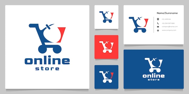 Shopping cart and mouse negative space online store logo design illustration