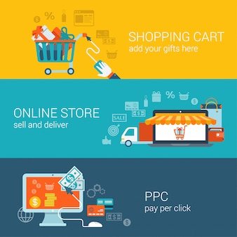 Shopping cart online store pay per click flat style concepts set.