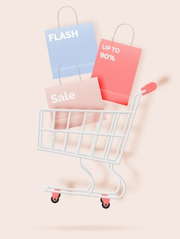 Shopping cart for sale banner in paper art style and pastel scheme   illustration