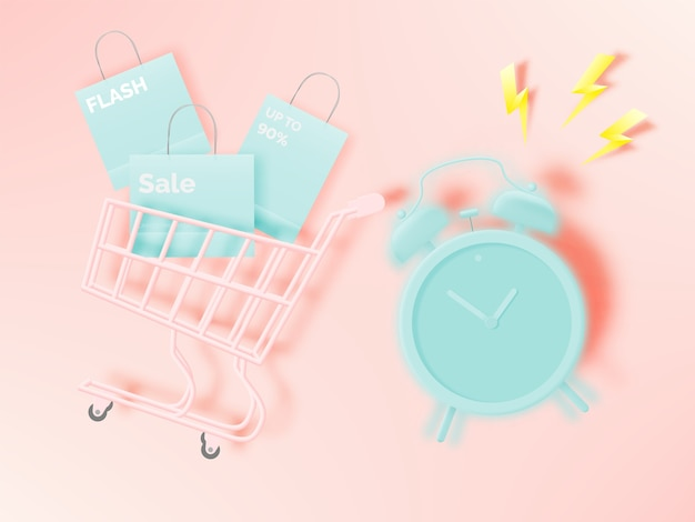 Shopping cart for sale banner in paper art style and pastel scheme