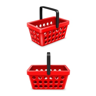 Shopping cart set, object 3d on a white background. vector illustration