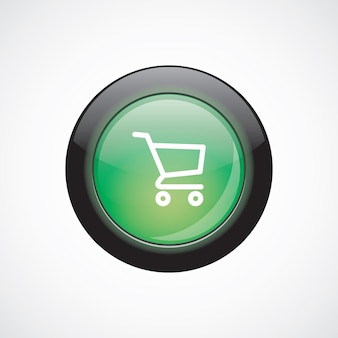 Shopping cart sign icon green shiny button. ui website button