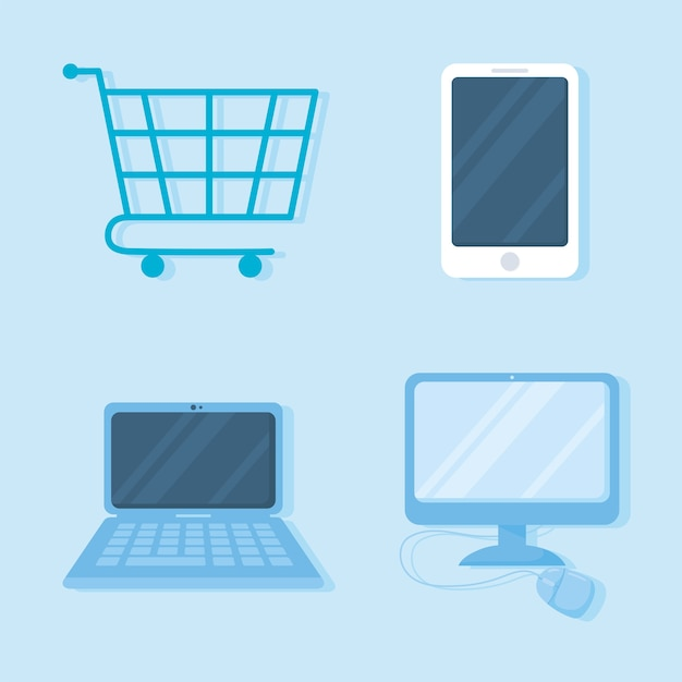 Shopping cart smarphone computer laptop and mouse icons
