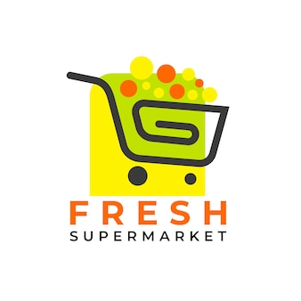 Shopping cart supermarket logo template
