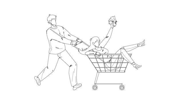 In shopping cart transport carry boy woman black line pencil drawing vector. young woman holding money and riding in shopping cart. characters couple funny time in grocery supermarket illustration