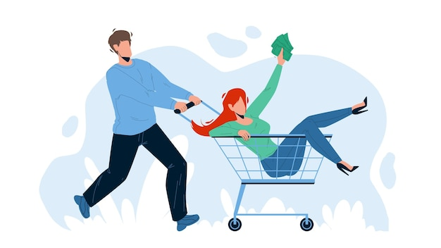 In shopping cart transport carry boy woman vector. young woman holding money and riding in shopping cart. characters couple funny time in grocery supermarket flat cartoon illustration