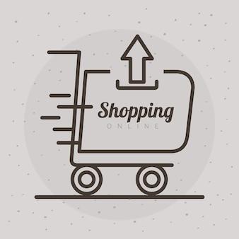 선 스타일 아이콘 및 글자 그림 디자인 위쪽 화살표와 함께 쇼핑 카트 트롤리