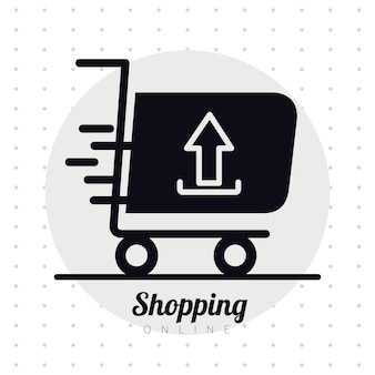 Shopping cart trolley with arrow up line style icon and lettering illustration design