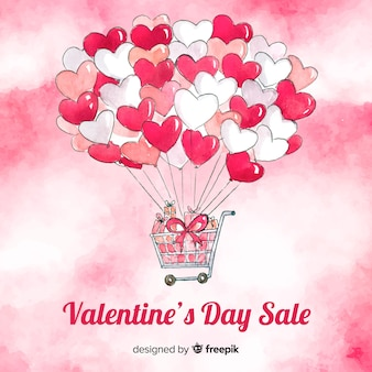 Shopping cart valentine's day sale background