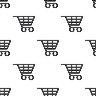 Shopping cart, vector seamless pattern, editable can be used for web page backgrounds, pattern fills